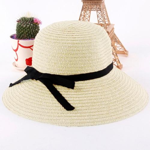Kobiety Moda Sun Hat Straw Hat szerokie rondo Summer Beach Czapki Beżowy