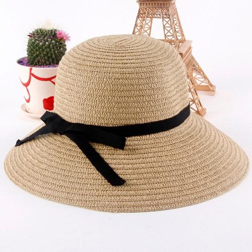 Sombrero paja sombrero todo el borde verano playa de moda mujer sol sombrero color caqui