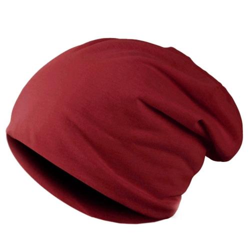 Nueva moda hombres mujeres Beanie Color sólido hip-hop Slouch Unisex punto tapa sombrero Borgoña