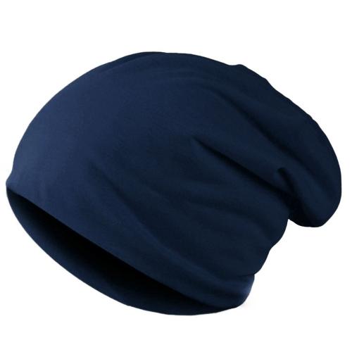 Nueva moda hombres mujeres Beanie Color sólido hip-hop Slouch Unisex punto tapa sombrero azul oscuro