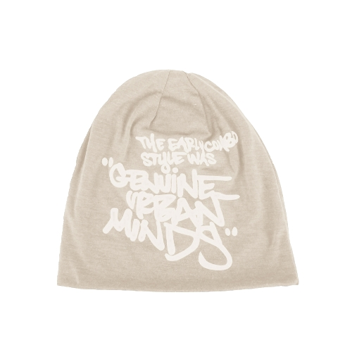 Korean Fashion Men Women Beanie Letter Print Hip-hop Unisex Knitted Hat Cap Headwear Beige