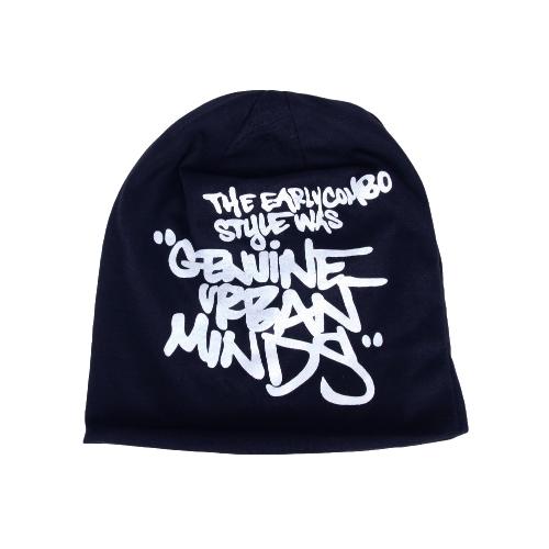 Koreanische Mode Männer Frauen Mütze Brief drucken Hip-hop Unisex gestrickter Hut Mütze Kopfbedeckung dunkelblau