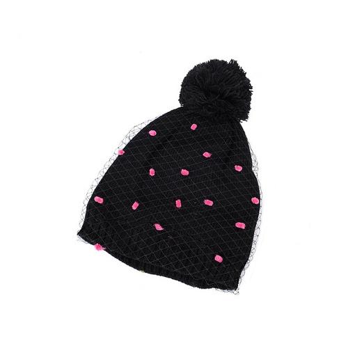 Otoño invierno moda mujer Beanie Vintage Bobble decoración velo neto ganchillo de punto sombrero negro