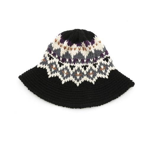 Neue Mode Frauen gestrickt Eimer Hut Jacquard Muster häkeln Jahrgang Winter Fisherman Hut