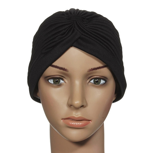 Fashion Women Wrap Hat Candy Color Stretchy Turban Head Band Sleep Beanie Pleated Indian Cap