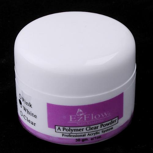 White Crystal Polymer Powder Acrylic Nail Art Tips