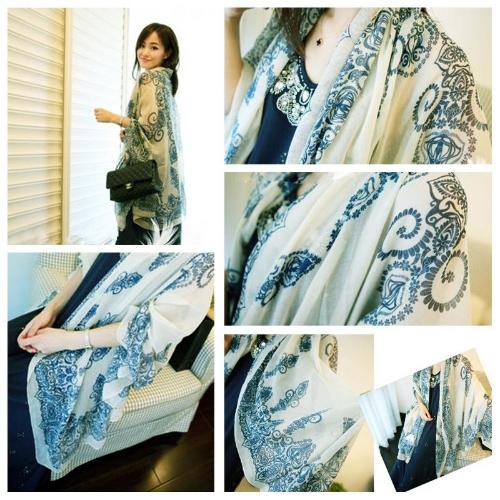 Image of Mode elegante Frauen Schal Porzellan Drucken langer Schal Wrap Pashmina Beige