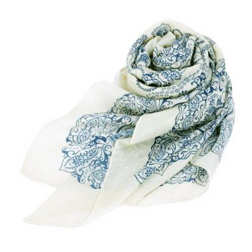 Mulheres elegantes moda cachecol porcelana impressão longo xale Wrap Pashmina bege