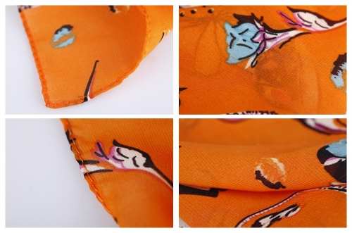 Image of Koreanische Mode Frauen Chiffon Schal Rose Ring Schokolade lange Schal Wrap Pashmina Orange