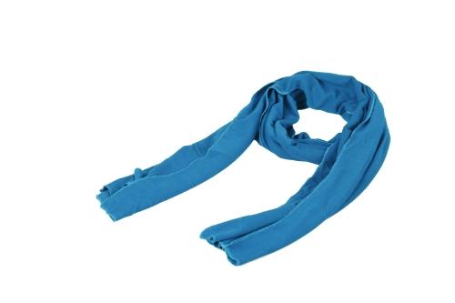 Las mujeres de los hombres de moda bufanda sólido Warp Unisex tiempo cálido chal Pashmina azul