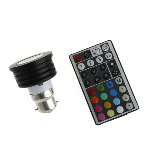 AC 100-240V Colorful LED RGB 4W B22 Light Bulb Lamp Spotlight with Remote Control