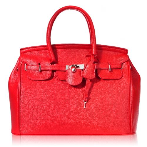 Elegant Vintage Women Lady Celebrity PU Leather Tote Handbag Shoulder with Lock Red