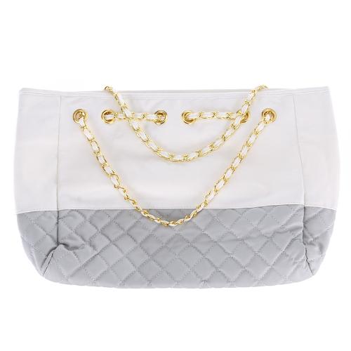 De las mujeres señora bolso hombro bolso PU cuero bolso bolso de mano blanco & gris