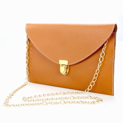 Fashion Lady Frauen Umschlag Kupplung Kette Tasche Handtasche Schulter Tote Messenger Bag schwarz
