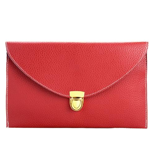 Dama de la moda mujeres envolvente embrague cadena bolso bolso hombro Tote Messenger Bag rojo