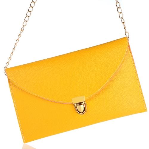 Fashion Lady naiste ümbrik sidur kett rahakott käekott õlal tassima Messenger kott kollane