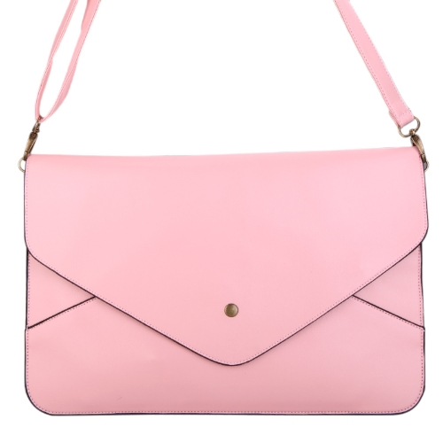 Fashion Lady Women Envelope Clutch Purse Handbag Shoulder Tote Messenger Bag PU Leather Light Pink