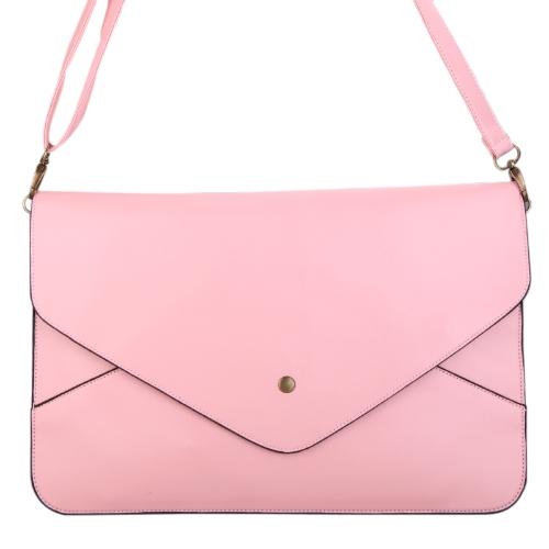 Moda mujer mujeres envolvente embrague bolso bolso hombro Tote Messenger Bag PU cuero rosa