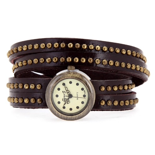 Relógio de pulso feminino Vintage rebites pulseira