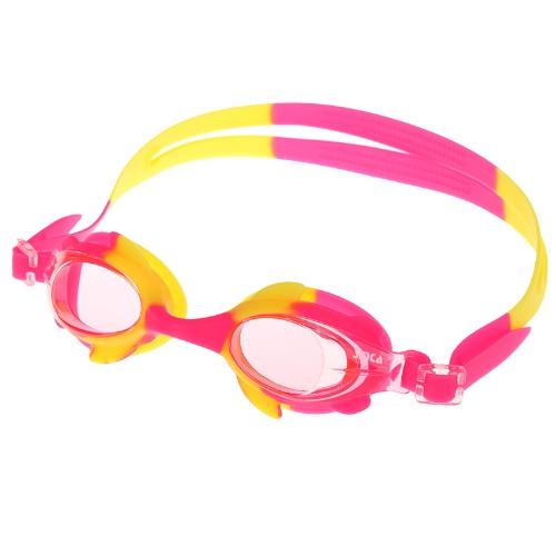 Cute Children Anti-fog Swimming Goggles PC Lens Silicone Swim Glasses Kids Rose & Yellow
