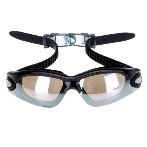 Specchio anti-appannamento rivestito UV Protection nuoto Occhiali lente PC Silicone nuotata occhiali nero