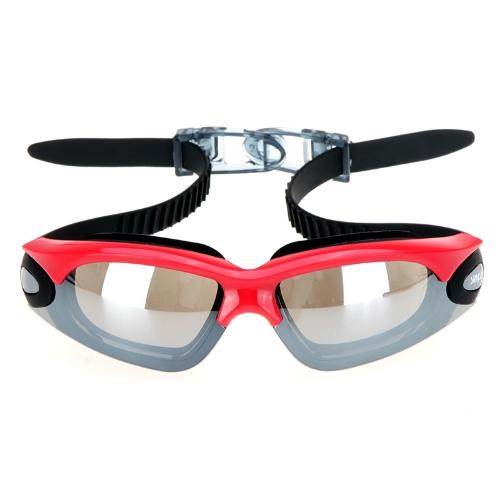 Specchio anti-appannamento rivestito protezione UV nuoto Occhiali lente PC Silicone nuotata occhiali rosso & nero