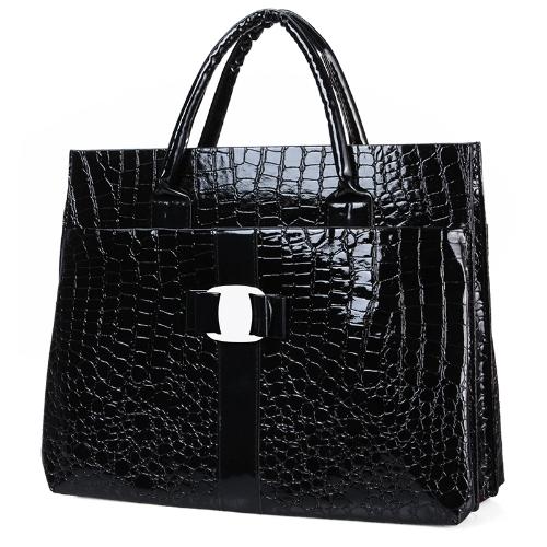 Fashion Luxury OL Lady Women Crocodile Pattern Handbag Tote Bag Horizontal Version Black