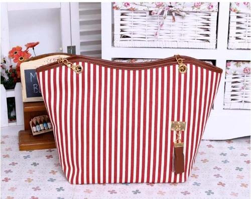 Borse Stripe Street Snap Tote candida tela Tassel catena borsa a tracolla rosso donna