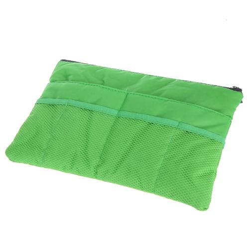 Fashion Purse Insert Handbag Cosmetic MP3 Phone Tablet PC Storage Organizer Pouch Large Liner Tidy Travel Slim Bag in Bag Green