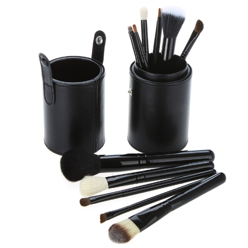 New 12pcs Professional Makeup Brush Set Cosmetic Brush Kit Makeup Tool with Cup Leather Holder Case Black