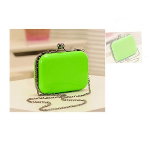 Moda mujer dama bandolera hombro día embrague noche bolsa cadena Color caramelo Mini caja bandolera verde