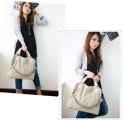 Mujeres coreanas dama tejida tejido cadena hombro Messenger Bag Hobo tres maneras bolso PU cuero Beige