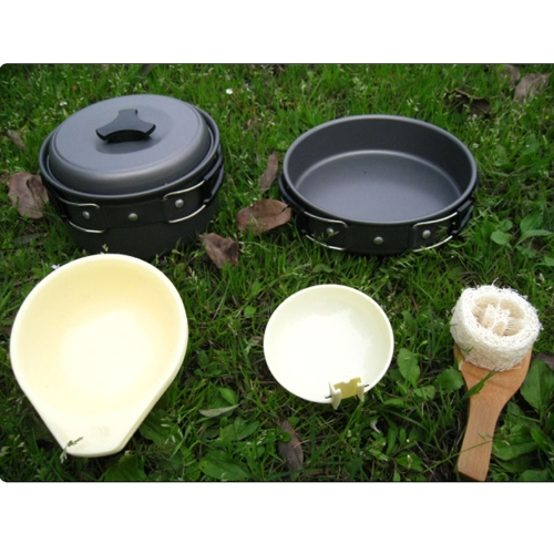 Tragbare Outdoor Cooking Set eloxiertem Aluminium Antihaft-Kochgeschirr Camping Picknick Wanderutensilien Pot Pan Bowl