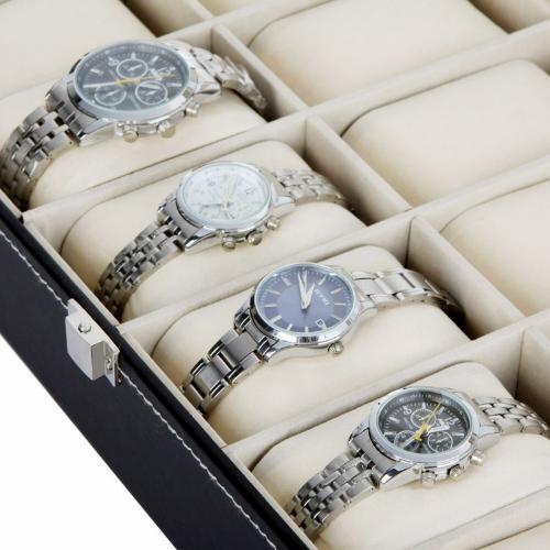 Grade 12 relógio Display caso jóias coleção armazenamento organizador caixa suporte de couro