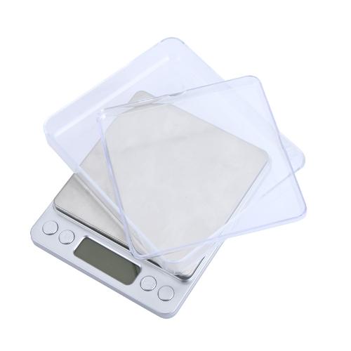 Alta precisão Mini Digital plataforma jóias escala de pesagem balança eletrônica com duas bandejas portátil 500g / 0.01 g LCD azul contando da função g/ct/dwt/ozt/oz/gn