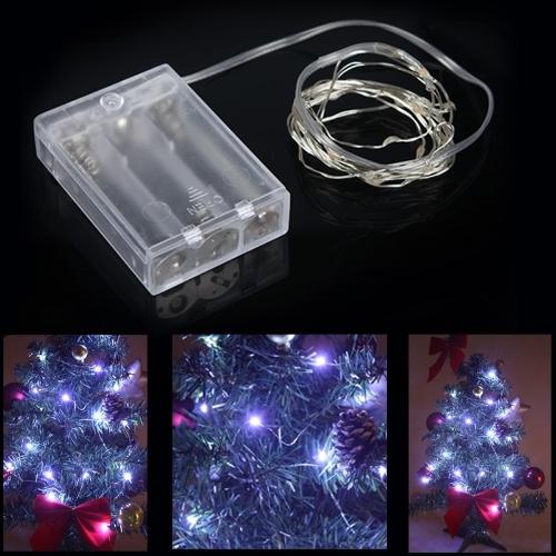 2M 20 LED Ламповая Гирлянда медного провода работает на батареи для свадебного урашения рождества