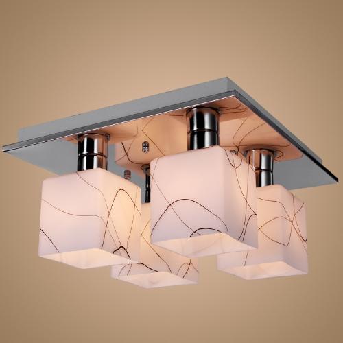 Edelstahl Deckenleuchte Kronleuchter Beleuchtung mit 4 Leuchten in Cube-Form 110-120V