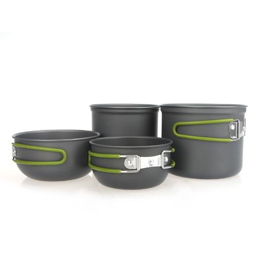 Портативная варочная открытый набор из анодированного алюминия антипригарным горшок чаша посуда кемпинг пикник Пешие прогулки посуда