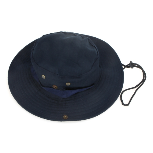 Outdoor Fishing Camping Hiking Sun Cap Round Rim Men Women Hat Dark Blue