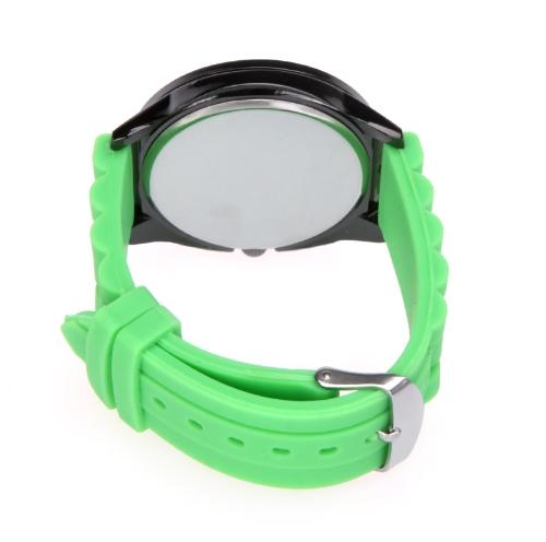 Silicona con estilo correa muñeca Casual reloj hombres mujeres Unisex verde