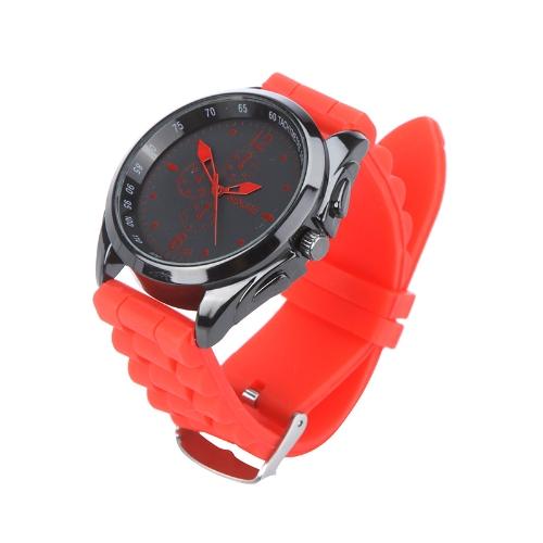 Hombres mujeres elegantes silicona correa muñeca Casual Reloj Unisex rojo