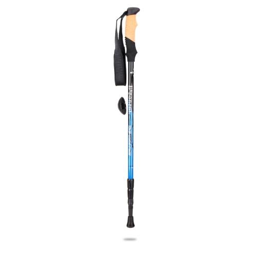 Adjustable Telescopic Anti-shock Hiking Walking Stick Trekking Pole Alpenstock 3 Section Blue