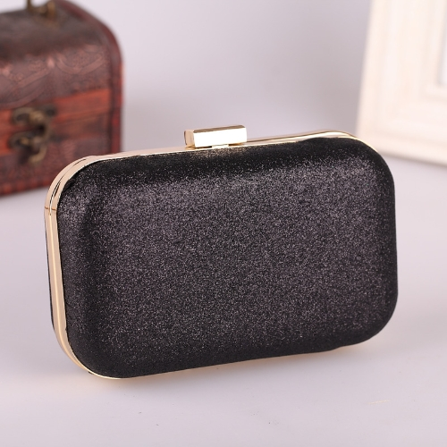 Women's Chain Retro Hard Glitter Shoulder  Dinner Clutch  Handbag Black