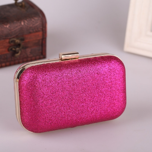 Women's Chain Retro Hard Glitter Shoulder  Dinner Clutch  Handbag Rose