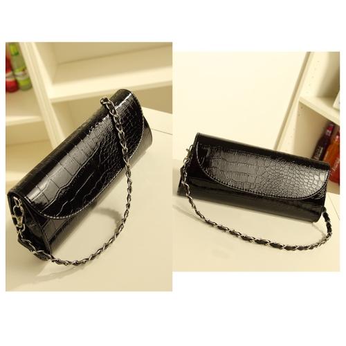 Cocodrilo pequeño bolso de cadena del patrón vestido bolso Crossbody / cartera negro
