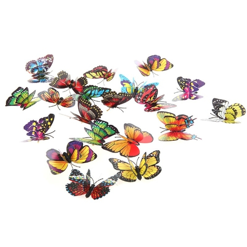 20pcs 7cm 3D Artificial Butterfly Pin Clip Double Wing for Home Christmas Wedding Decoration