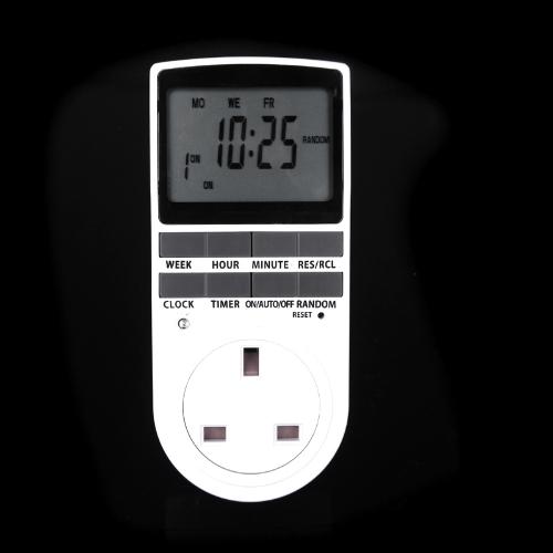 Цифровой ЖК питания программируемый таймер летом случайная функция Великобритании Plug