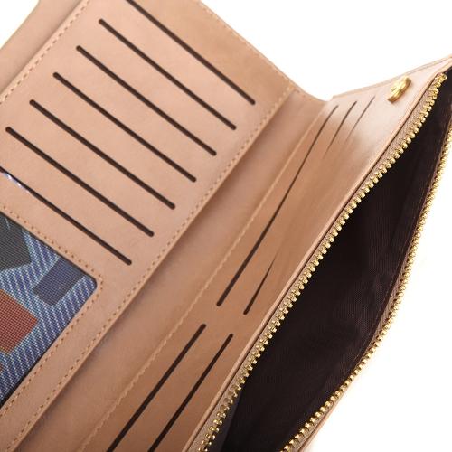 Women Wallet Clutch Long Bifold Lady Slim Purse PU Leather Credit Card Holder Beige
