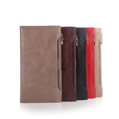 Women Wallet Clutch Long Bifold Lady Slim Purse PU Leather Credit Card Holder Coffee