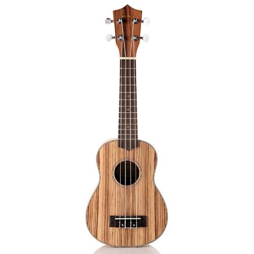 Homeland Laminated Zebrawood Sopran 4 String Ukulele Akustisches Instrument